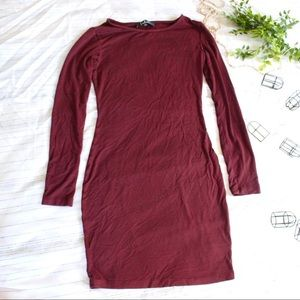 Lulu's Dresses - Lulus maroon long sleeve body con dress